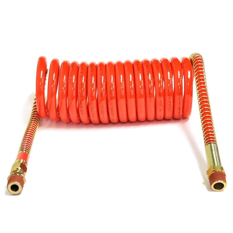 Phillips 11-715 Blue/Red 15' Long Steel Spring Coiled Air Brake Hose For Trailer-Trailer Brake Parts-BuildFastCar-BFC-TTP-COAI-PHIL-11-715