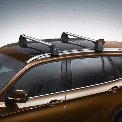 Black Aluminum OE Style Bolt-On Top Roof Rack Rail Cross Bar For 09-15 BMW X1-Exterior-BuildFastCar