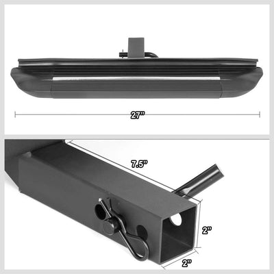 "Black 32.5"" Long 4"" Wide Ridgeline Flat Tow Hitch Rear Step Bar For 2"" Receiver-Truck & Towing-BuildFastCar-BFC-HITC-32RUNB-BK"