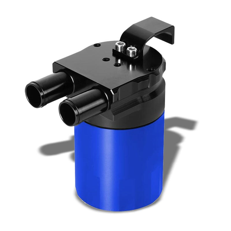 Universal Aluminum Sealed Baffled Blue 240ML 2 Port Oil Catch Tank Can Reservoir-Performance-BuildFastCar