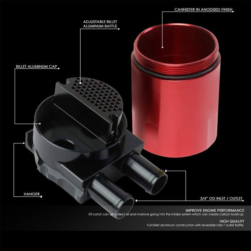 Universal Aluminum Sealed Baffled Red 240ML 2 Port Oil Catch Tank Can Reservoir-Performance-BuildFastCar