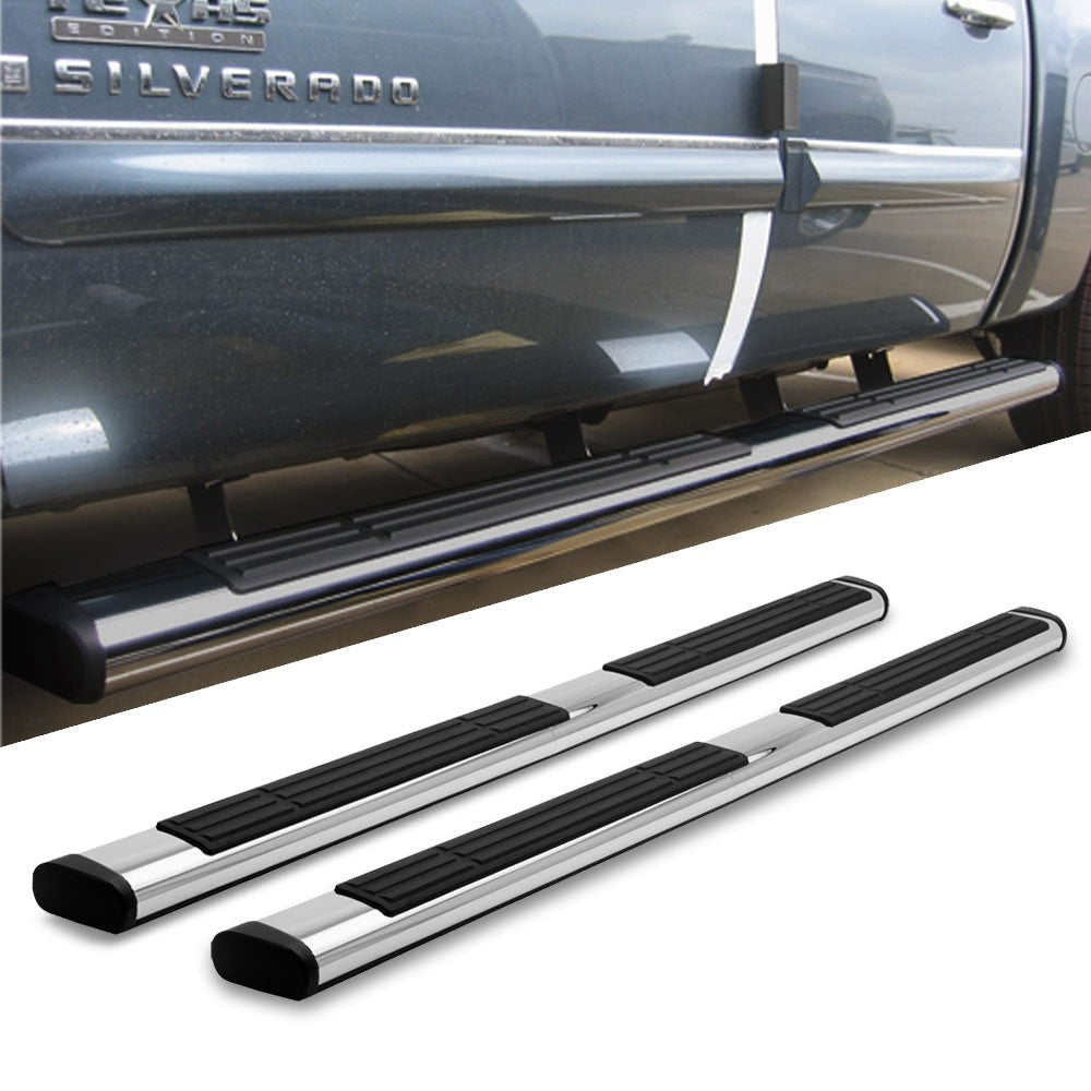 "Chrome Straight 6"" Wide Step Running Board For 05-15 Toyota Tacoma Crew/Double-Running Boards/Steps-BuildFastCar"