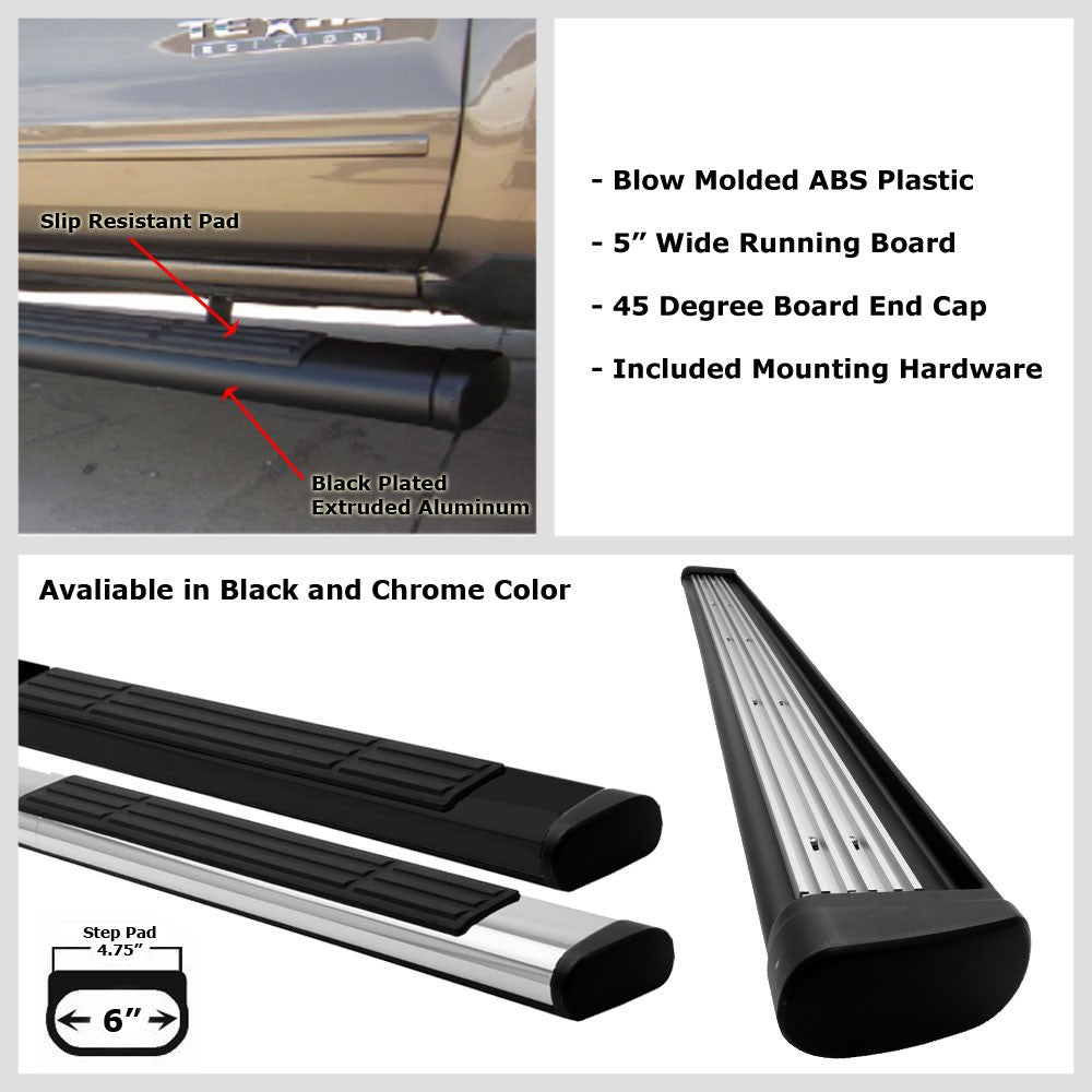 "Black Straight 6"" Wide Step Running Board For 05-15 Toyota Tacoma Crew/Double-Running Boards/Steps-BuildFastCar"
