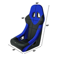 2x Blue Fixed Bucket Style L+R Woven Fabric TY25 Sport Spec Racing Seats+Slider-Interior-BuildFastCar
