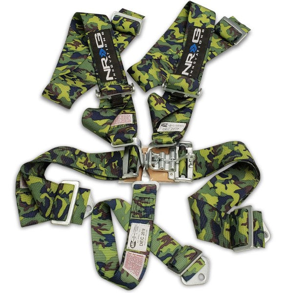 NRG SBH-5PCCAMO 5-Point Latch Link Green Camo SFI 16.1 Racing Seat Belt Harness