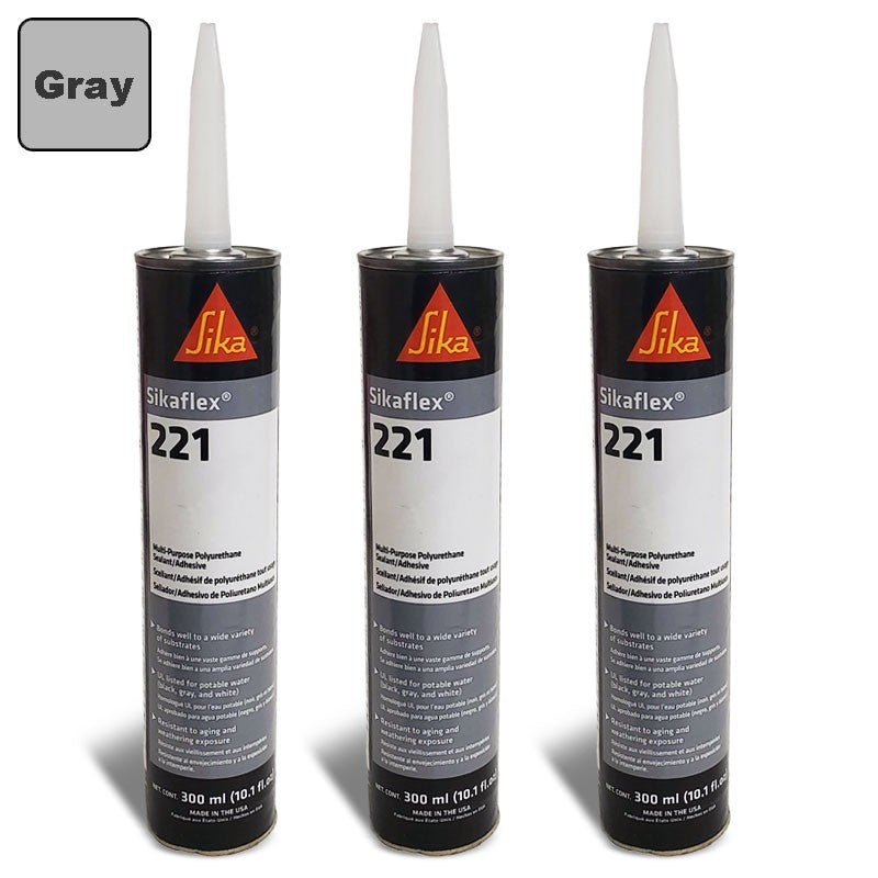 3X Sika Sikaflex 221 Industrial/Repair Sealant Sealer 300ML/Polyurethane/Gray-Adhesives Sealants & Tapes-BuildFastCar-BFC-TTP-SEAL-SIL-221-X3