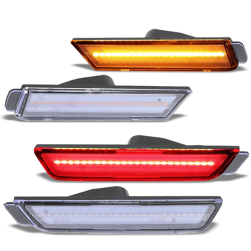Chrome Housing/Clear Lens LED Side Marker Lights For 10-15 Camaro 3.6L/6.2L/7.0L