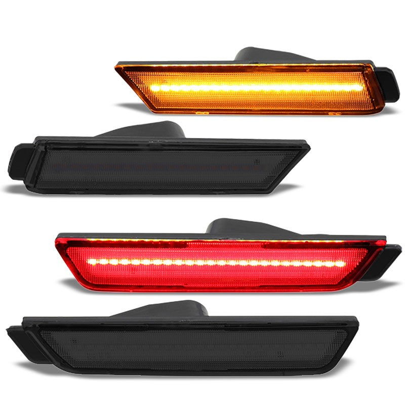 Chrome Housing/Smoke Lens LED Side Marker Lights For 10-15 Camaro 3.6L/6.2L/7.0L