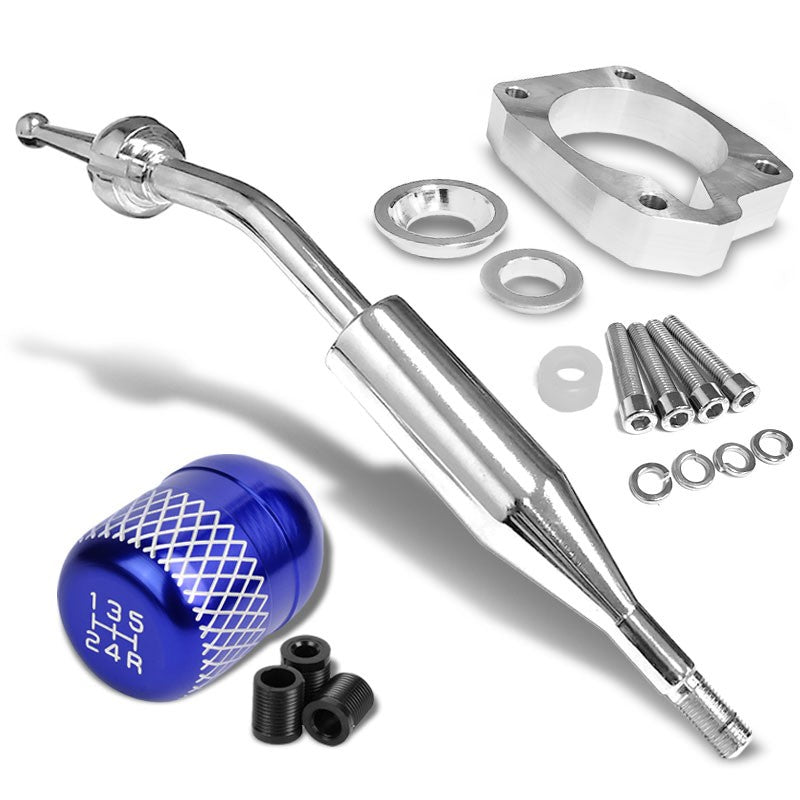 Manzo Short Shifter+Blue Net/White 5-Speed Knob For 83-87 Corolla GTS AE86 MT
