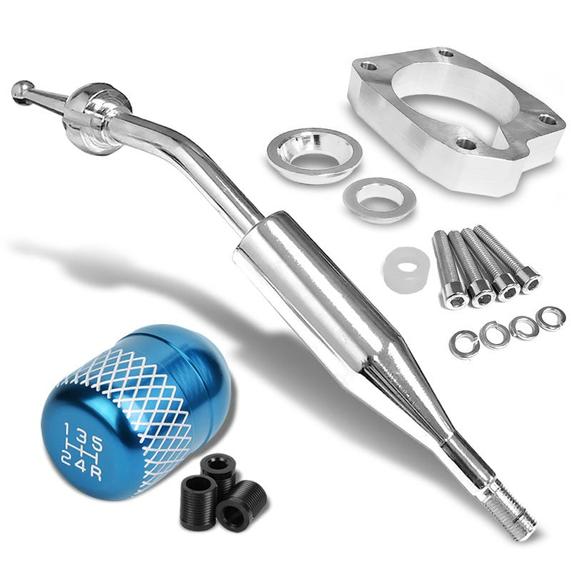 Manzo Short Shifter+Light Blue Net/White 5-Speed Knob For 83-87 Corolla GTS MT