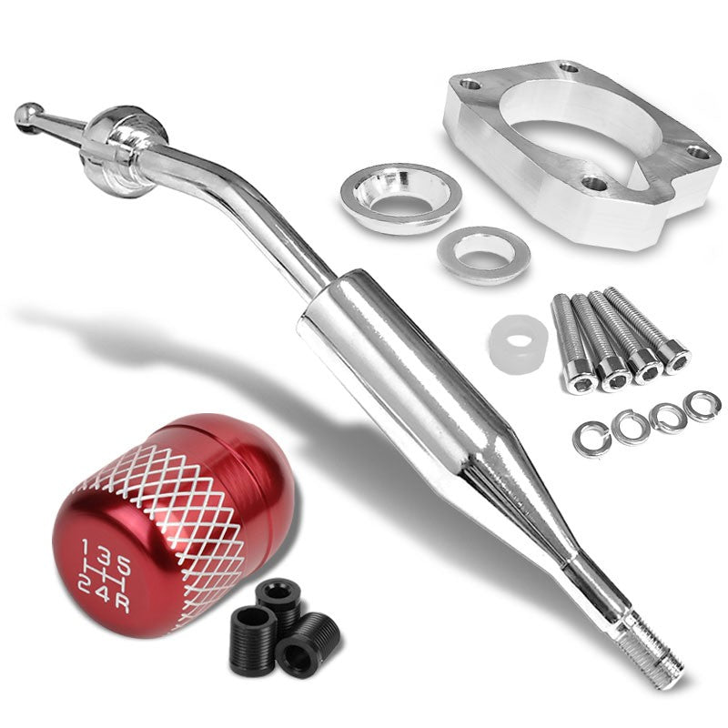 Manzo Short Shifter+Red Net/White 5-Speed Knob For 83-87 Corolla GTS AE86 Manual