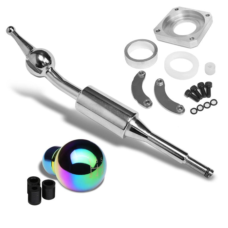Iridium/White Round 5S Short Throw Shifter+Shift Knob For 89-98 240SX S13 S14-Shifter Components-BuildFastCar-BFC-SHT-NS13+SHIFTKNOB-ROUND5SP-7C