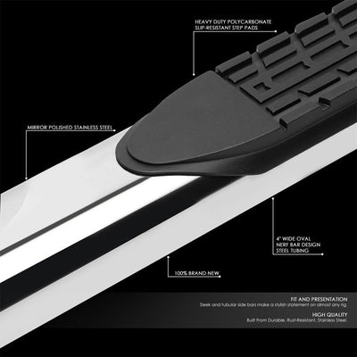 "Silver Steel 45 Degree Bend 4"" Wide Step Running Board For 04-14 F-150 Standard-Running Boards/Steps-BuildFastCar"