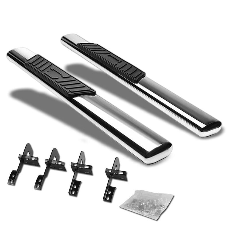 "Silver Steel Straight 5"" Wide Step Running Board For 15-18 Ford F-150 Standard-Running Boards/Steps-BuildFastCar"