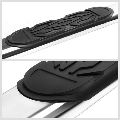 "Silver Steel Straight 6"" Wide Step Running Board For 99-16 Silverado Extended-Running Boards/Steps-BuildFastCar"