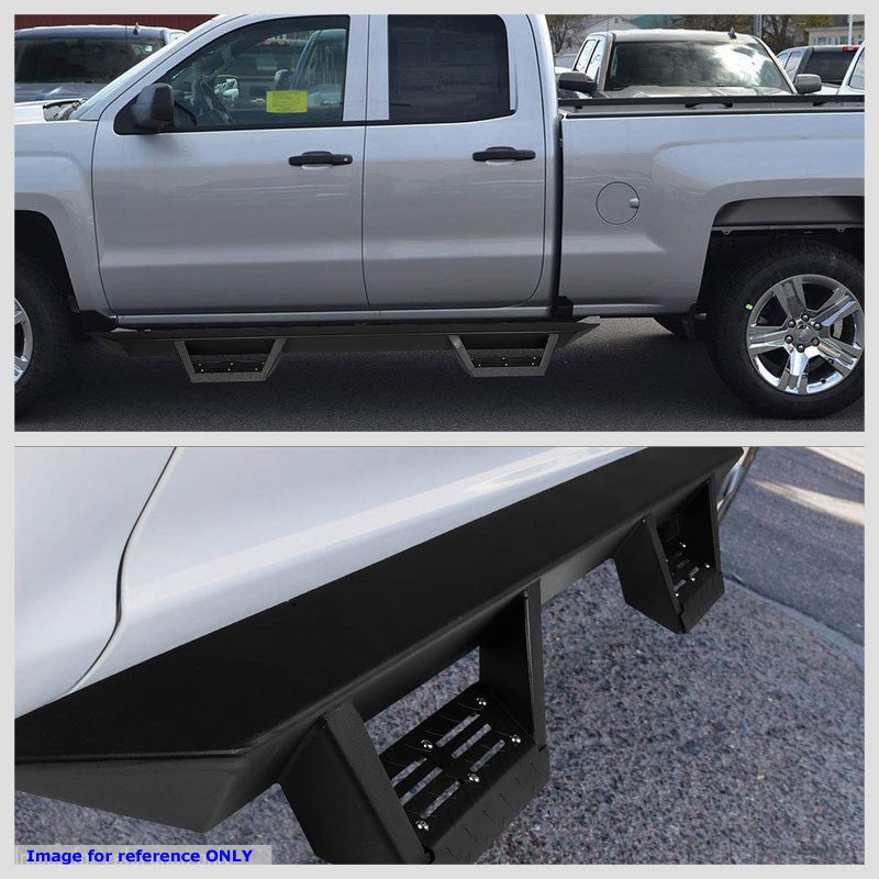"Black Step-Down 3"" Wide Step Running Board For 07-18 Silverado 1500 Extended Cab-Running Boards/Steps-BuildFastCar"