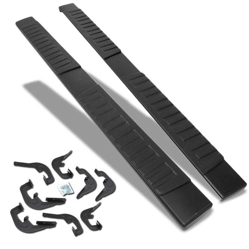 "Black Flat 6"" Wide Step Running Board For 07-18 Chevrolet Silverado Crew Cab-Running Boards/Steps-BuildFastCar"