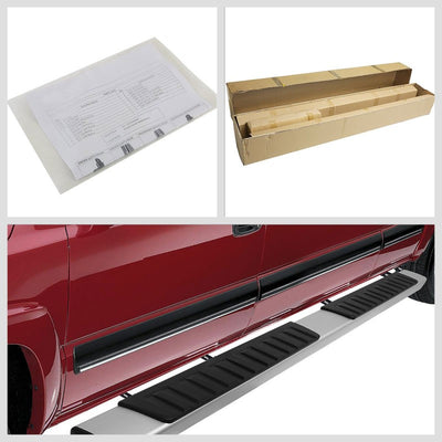 "Silver Aluminum OE 6"" Wide Step Running Board For 07-18 Chevrolet Silverado Crew-Running Boards/Steps-BuildFastCar"