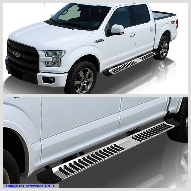 "Silver Steel Flat 6"" Wide Step Running Board For 04-14 Ford F-150 Crew/SuperCrew-Running Boards/Steps-BuildFastCar"