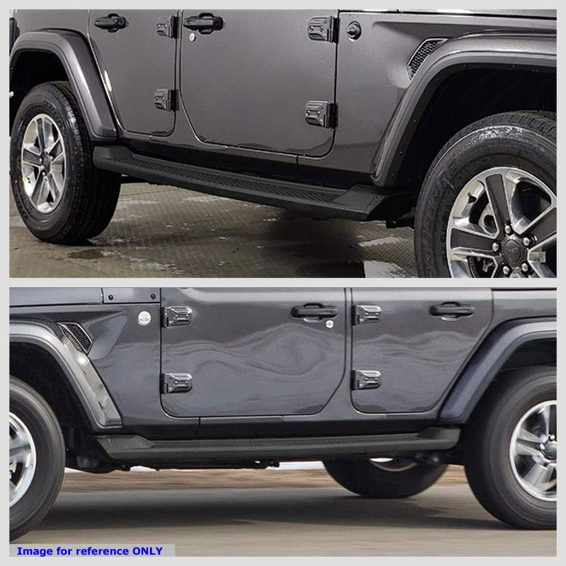 "Black 4.5"" Wide Step OE Style Running Boards For 18-19 Jeep Wrangler Unlimited"