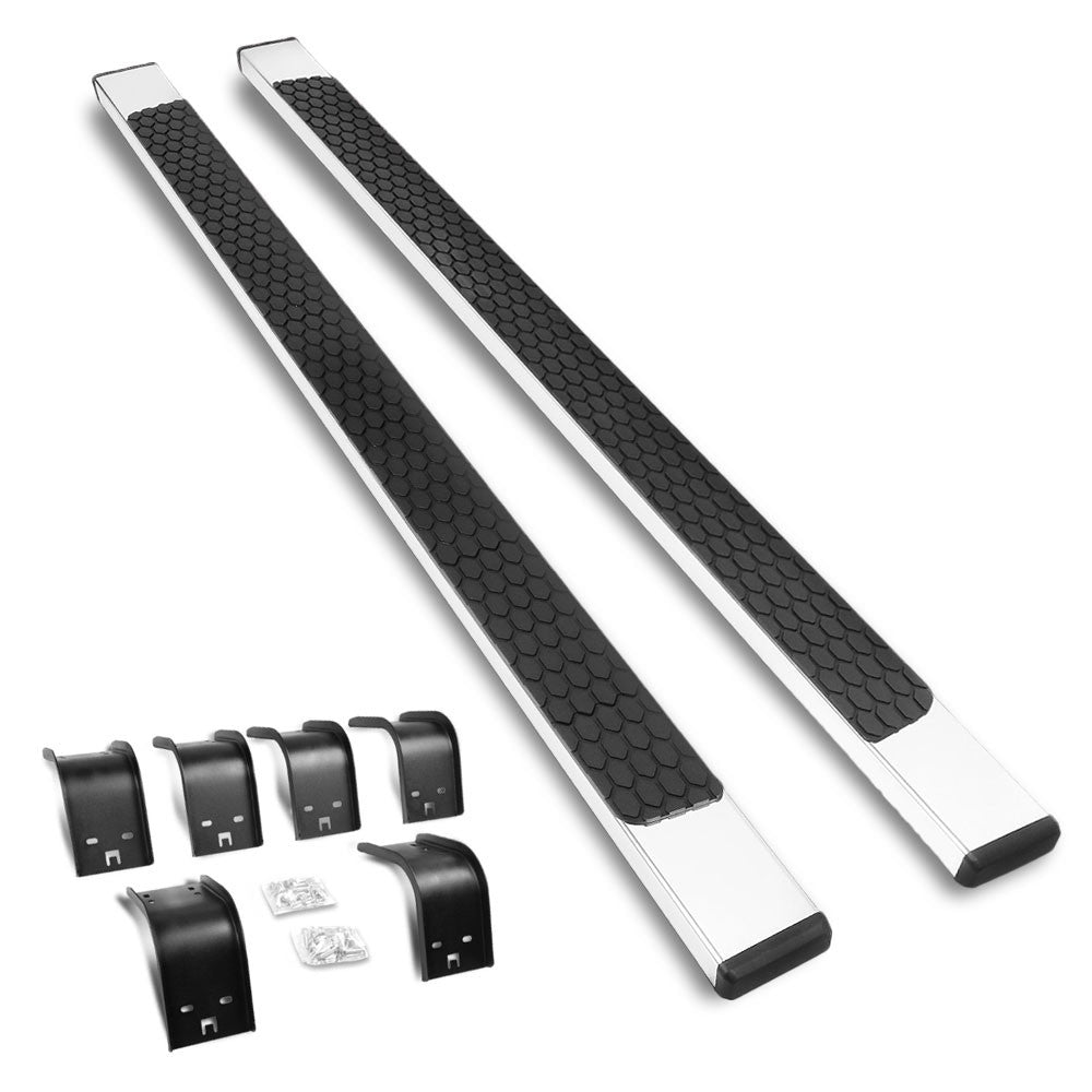 "Running Boards (Black/Metallic, Mild Steel/ABS Plastic, OE, 5"" Oval Tube) Works With 09-10 Dodge Ram 1500"
