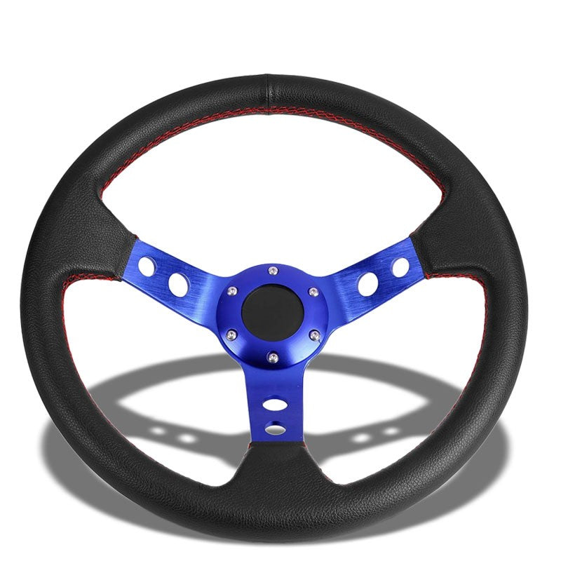 "Black Leather/Blue Round Holes Spoke 350mm 3.00"" Deep Steering Wheel+Horn Button-Interior-BuildFastCar"