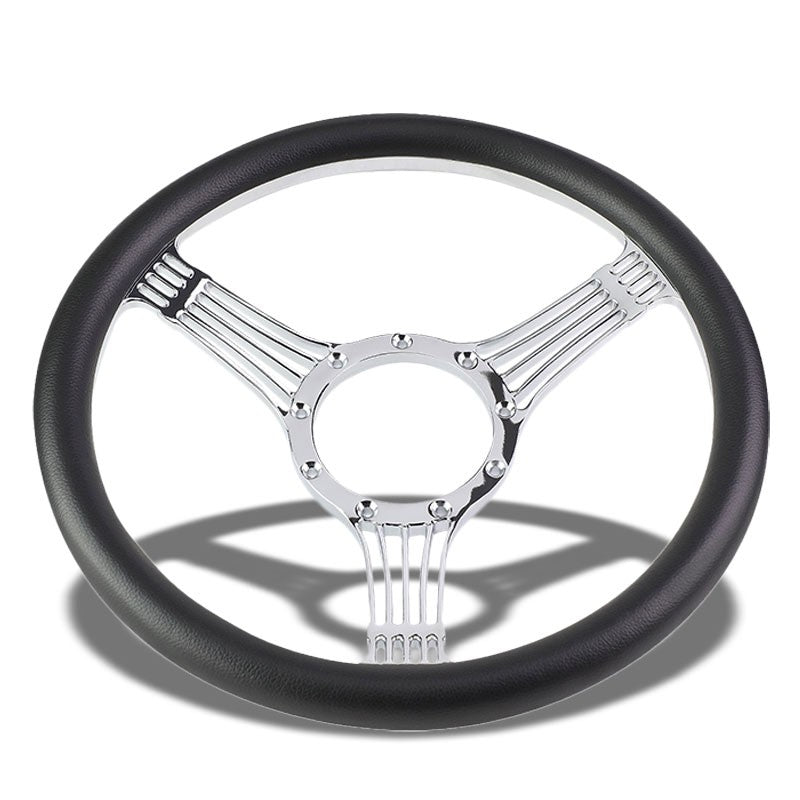 "Black Leather/Chrome Banjo String Spokes 340mm 2.25"" Deep Dish Steering Wheel-Interior-BuildFastCar"