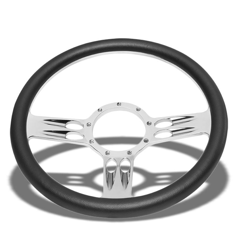 "Black Leather/Chrome Banjo Hose Spoke 340mm 2.25"" Deep Dish Sport Steering Wheel-Interior-BuildFastCar"