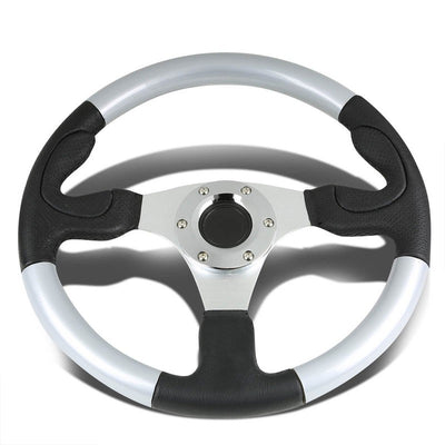 Black Leather Thumb Grip/Silver Spokes/Frame 350mm Steering Wheel+Horn Button-Interior-BuildFastCar
