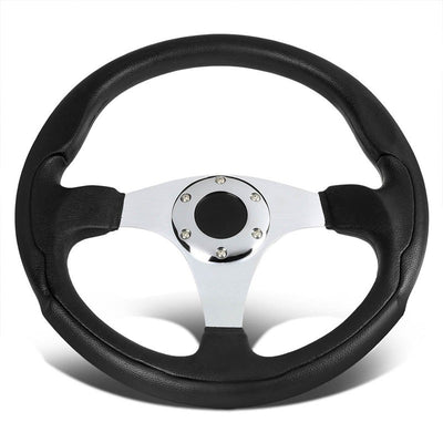 Black Leather Thumb Grip/Silver Spokes 330mm Sport Steering Wheel+Horn Button-Interior-BuildFastCar
