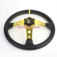 "Black Leather/Gold Round Holes 350mm 3.00"" Deep Dish Steering Wheel+Horn Button-Interior-BuildFastCar"