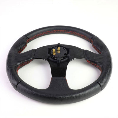 Black Leather Thumb Grip/Spokes/Red Stitch 320mm Steering Wheel+Horn Button-Interior-BuildFastCar