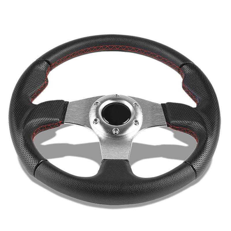 Black Leather Thumb Grip/Silver Spoke 320mm Racing Steering Wheel+Horn Button-Interior-BuildFastCar