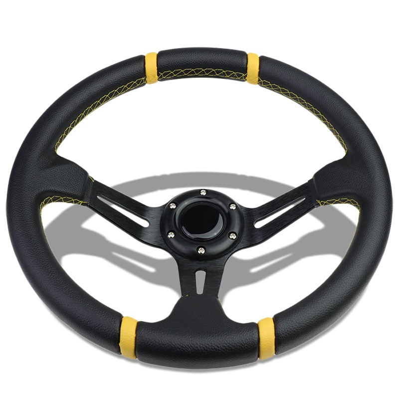 "Black Leather/Slit Holes Spokes 350mm 3.50"" Deep Dish Steering Wheel+Horn Button-Interior-BuildFastCar"
