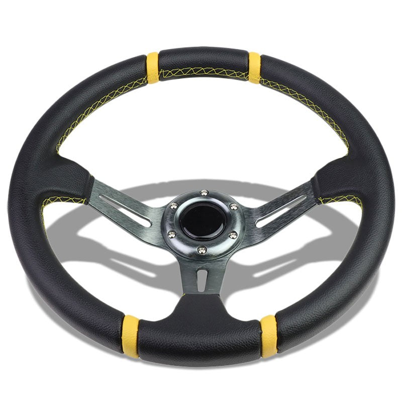 "Black Leather/Gunmetal Slit Holes 350mm 3.50"" Deep Steering Wheel+Horn Button-Interior-BuildFastCar"