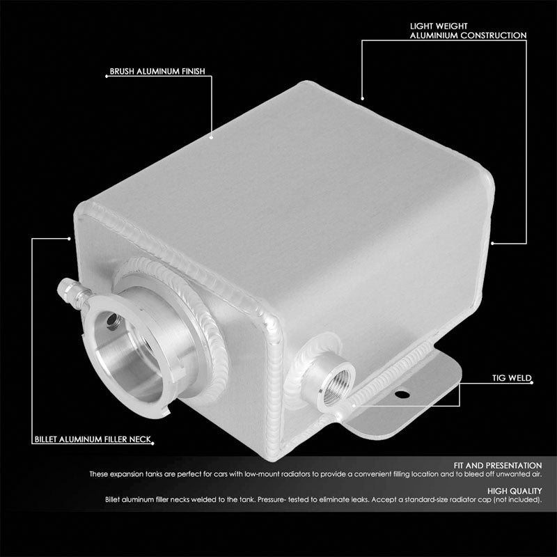 Aluminum 1.25 Qt Expansion Coolant Overflow Tank/Recovery Bottle/Reservoir Can-Performance-BuildFastCar