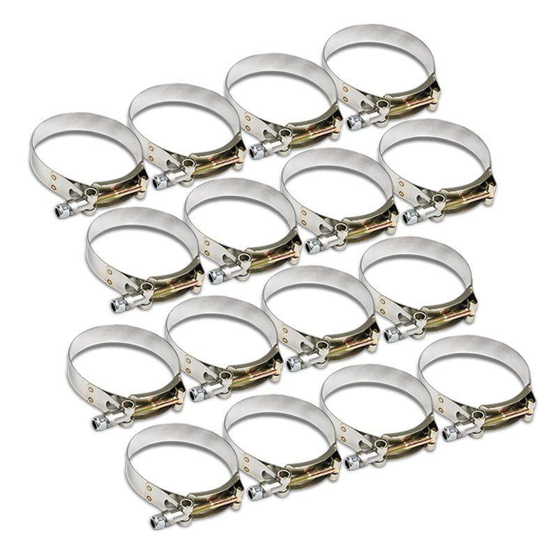 "16X Stainless Steel T-Bolt Clamps Fit Turbo Intake Pipe Hose ID 2.75"" (70mm)-Performance-BuildFastCar"