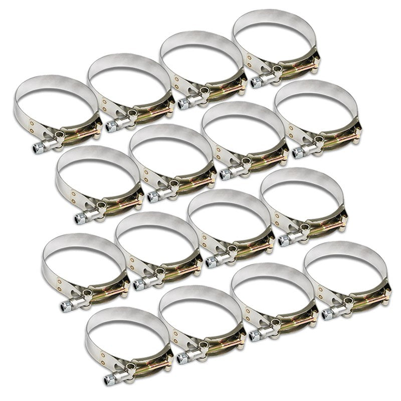 "16X Stainless Steel T-Bolt Clamps Fit Turbo Intake Pipe Hose ID 3.25"" (83mm)-Performance-BuildFastCar"