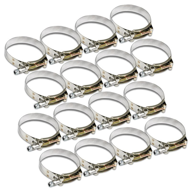 "16X Stainless Steel T-Bolt Clamps Fit Turbo Intake Pipe Hose ID 3.50"" (89mm)-Performance-BuildFastCar"