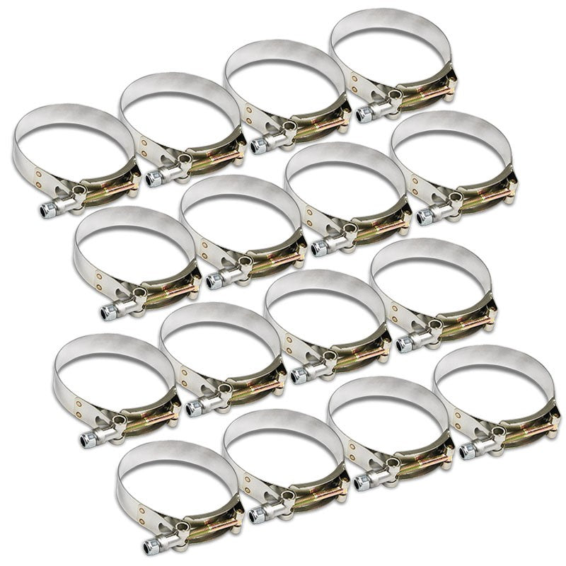"16X Stainless Steel T-Bolt Clamps Fit Turbo Intake Pipe Hose ID 3.75"" (95mm)-Performance-BuildFastCar"