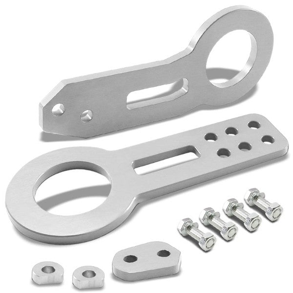 "2.45"" Front/Rear Silver Billet Style Aluminum Racing Tow Hook For USDM/JDM Model-Exterior-BuildFastCar"