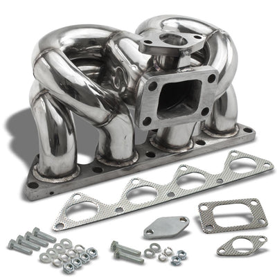 Race SS Chrome T3/T4 Flange Turbo Manifold+WG Port For 90-01 Integra B-Series l4-Performance-BuildFastCar