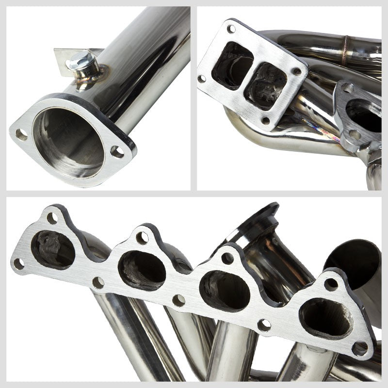 Long Tube SS Chrome T4 Twin Turbo Manifold+WG Port For 94-97 Del Sol B-Series-Performance-BuildFastCar