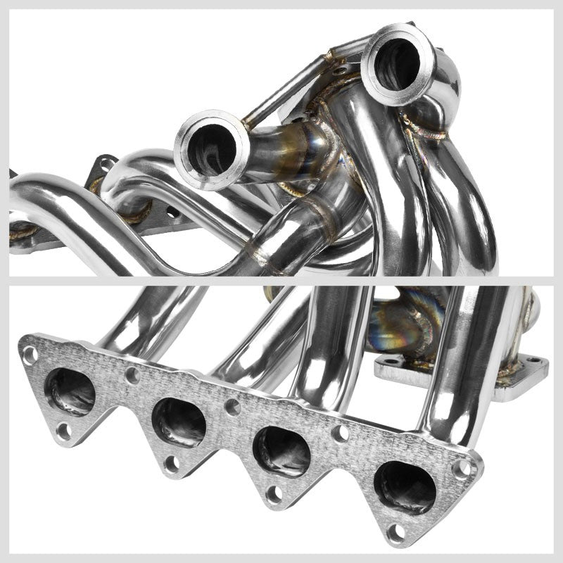Race SS Chrome T3/T4 Turbo Manifold+Dual WG Port For 90-01 Integra B-Series-Performance-BuildFastCar