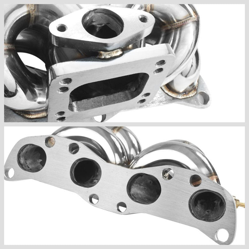 Race SS Chrome T3/T4 Turbo Manifold+WG Port For S13/S14 CA18DE/CA18DET Swapped-Performance-BuildFastCar