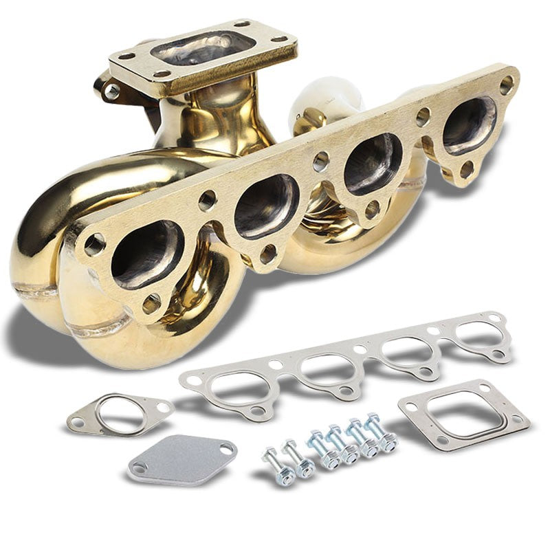 Bottom-Mount SS Gold T3 Flange Turbo Manifold+WG Port For 93-97 Del Sol D-Series-Performance-BuildFastCar