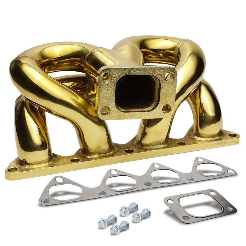 Bottom-Mount SS Gold T3 Flange Turbo Manifold For 88-00 Civic D15 D16-Performance-BuildFastCar