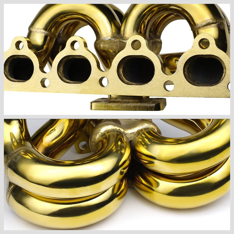 Bottom-Mount SS Gold T3 Flange Turbo Manifold For 90-01 Integra B-Series-Performance-BuildFastCar