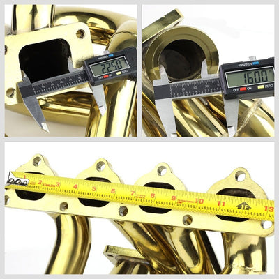 Top-Mount SS Gold T3 Turbo Manifold+WG Port For 93-97 Civic Del Sol B-Series-Performance-BuildFastCar