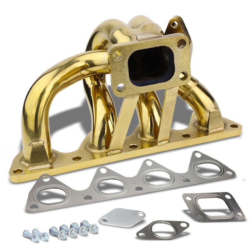 Bottom-Mount SS Gold T3 Flange Turbo Manifold+WG Port For 93-01 Prelude H22-Performance-BuildFastCar